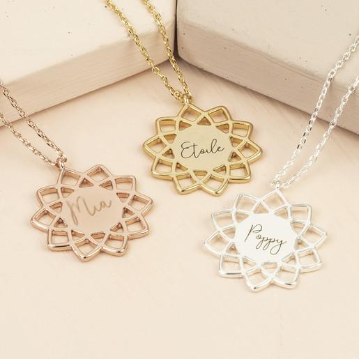 a2ac2724fd3f9 Personalised Mandala Pendant Necklace