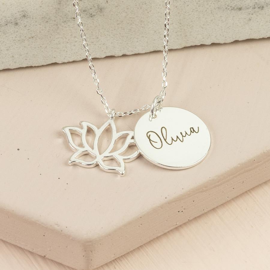 Personalised Silver Lotus Flower Necklace Lisa Angel Jewellery