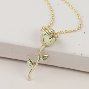 Stem Rose Pendant Necklace in Gold
