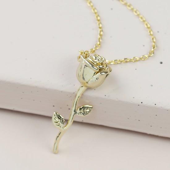 Stem Rose Pendant Necklace in Gold