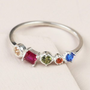 Sterling Silver Rainbow Gems Ring - M/L