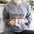 Lisa Angel Oversized 100% Cotton Christmas 'I Believe' Sweatshirt in Grey
