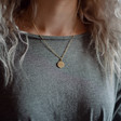Personalised Gold Sterling Silver Irregular Shape Necklace on Model