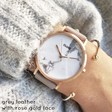 Lisa Angel Ladies' Personalised CLUSE La Roche Rose Gold Watch in Grey & White Marble