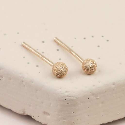 cdbbcd1a7 Lisa Angel Ladies' Frosted Rose Gold Sterling Silver Ball Stud Earrings