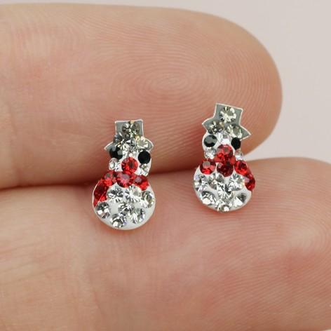 2cf34f9b3c7 Sterling Silver Diamante Snowman Christmas Earrings