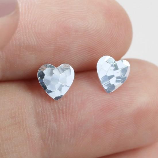 Sterling Silver Hammered Heart Stud Earrings