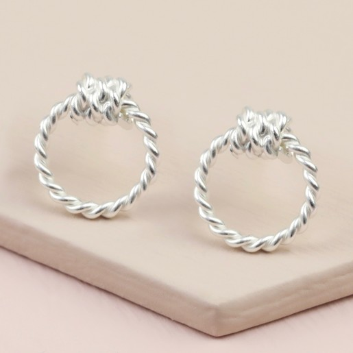 1bb280014bc82e Sterling Silver Rope Hoop Stud Earrings | Lisa Angel Jewellery