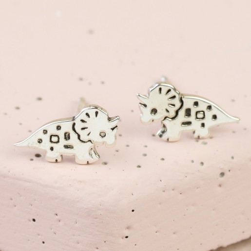 389dcfa55 Sterling Silver Triceratops Dinosaur Stud Earrings | Lisa Angel