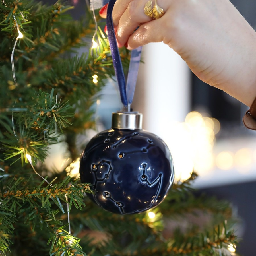 Navy LED Ceramic Constellation Bauble