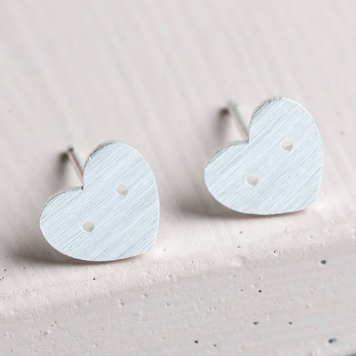 f2bf99f09 Lisa Angel Ladies' Small Button Heart Stud Earrings in Silver