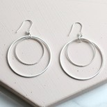 Double Circle Drop Earrings in Silver