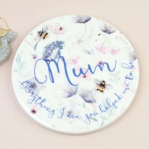 Floral 'Mum' Ceramic Coaster