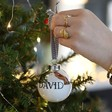 Teen's Personalised Metallic Dipped Ceramic Bauble in Silver