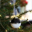 Men's Personalised Metallic Dipped Ceramic Bauble in Black