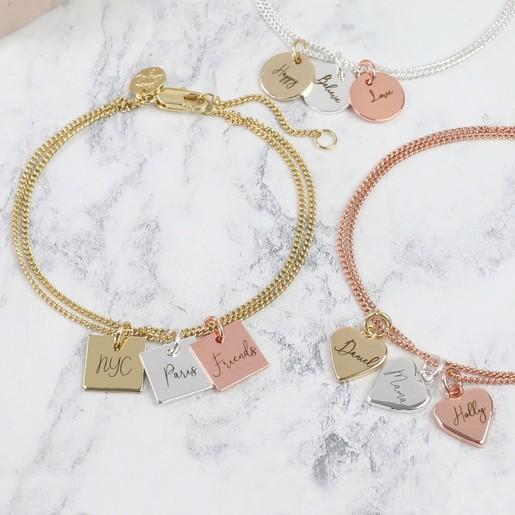 Personalised Family Heart Charm Bracelet Gift Bag Wedding Birthday Christmas