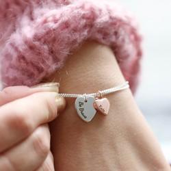Personalised Double Heart Charm Bracelet 1bd17ce9d