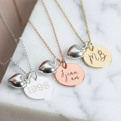 Personalised Disc And Puffed Heart Charm Necklace