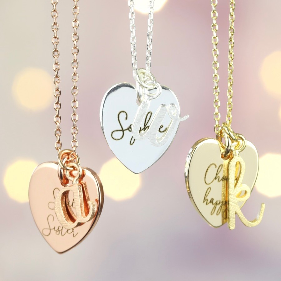 Personalised Heart And Initial Charm Necklace