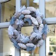 Lisa Angel Winter Frosted Blue Pinecone Christmas Wreath
