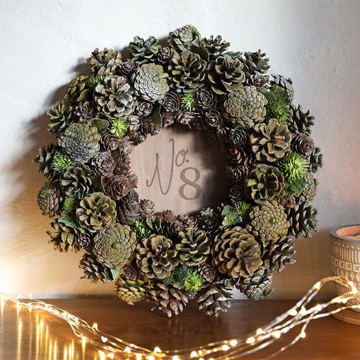 Personalised Green Pinecone Christmas Wreath
