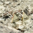 Lisa Angel Men's Gold and Silver Personalised Mixed Metal Triangle Cufflinks