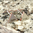 Lisa Angel Men's Rose Gold and Silver Personalised Mixed Metal Triangle Cufflinks