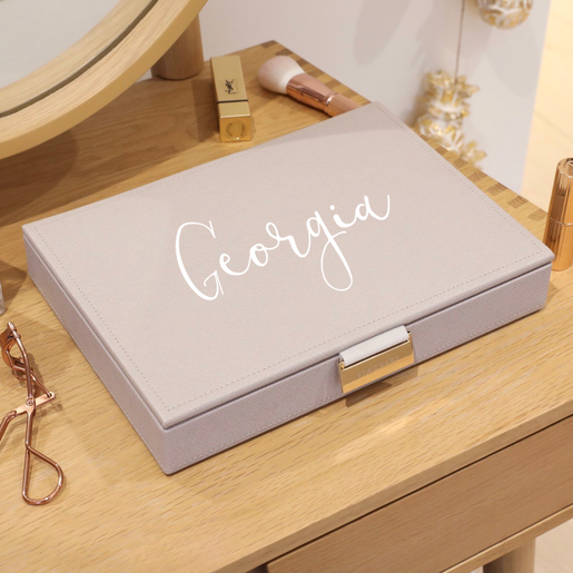 Personalised Stackers Classic Jewellery Box Lid In Taupe