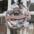 Lisa Angel Personalised Frosted Blue Pinecone Christmas Wreath