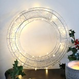 Silver LED Wire Wreath Light Decoration