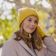 Lisa Angel Ladies' Chunky Knit Mustard Bobble Hat with Grey Pom Pom