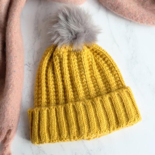 a71bf3846f1d85 Lisa Angel Ladies' Chunky Knit Mustard Bobble Hat with Grey Pom Pom