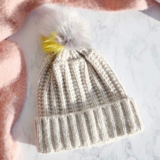 f31f818ab9c Lisa Angel Ladies  Thick Knit Oatmeal Bobble Hat with Colourful Pom Pom