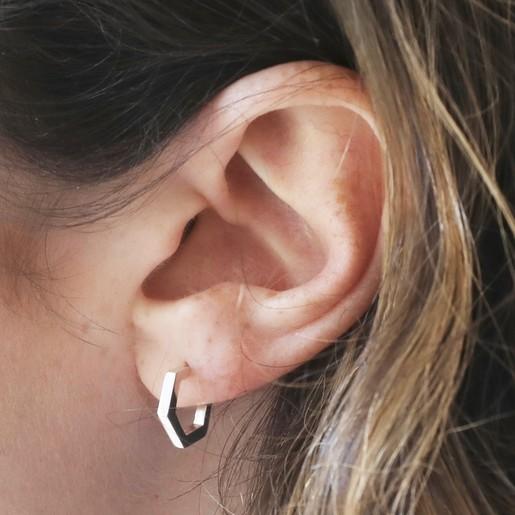 316d9c6ef Small Sterling Silver Hexagonal Hoop Earrings on Model. Lisa Angel  Hypoallergenic Small ...