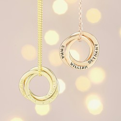 Personalised Gold Sterling Silver Russian Ring Necklace