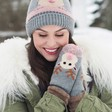 Lisa Angel with Ladies' Powder Design Cosy Rudolph Mittens in Grey