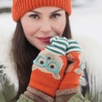 Lisa Angel with Ladies' Powder Design Cosy Teddy Mittens in Orange