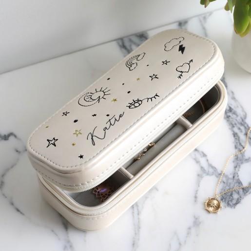 Personalised Rectangular Embroidered Travel Jewellery Box