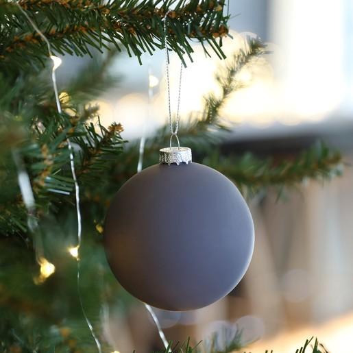 Hanging Christmas Decorations.Matt Grey Bauble