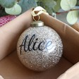 Lisa Angel Sparkling Personalised Name Gold Glitter Bauble