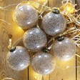 Lisa Angel Festive Set of 6 Gold Glitter Baubles
