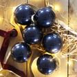 Lisa Angel Set of 6 Christmas Navy Glitter Baubles