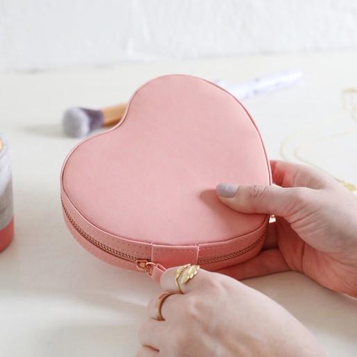 Heart Travel Jewellery Case In Pink