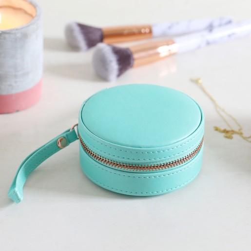 Mini Round Travel Jewellery Case In Turquoise