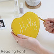 Lisa Angel Faux Leather Yellow Personalised Heart Travel Jewellery Case