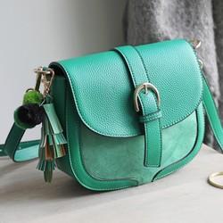 2a729de9f110 Green Vegan Leather Crossbody Handbag