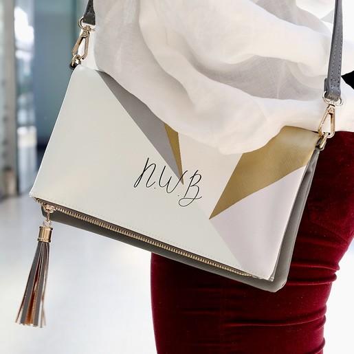 b7e4610cf4ac Lisa Angel Ladies  Formal Grey and Mint Geometric Clutch Bag