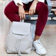 Personalised Grey Fold Top Backpack on Model