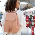 Lisa Angel Ladies' Embroidered Personalised Fold Top Backpack