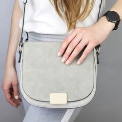af3ef0fd3b20 Stone Grey Suede Crossbody Handbag
